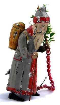 "1900 Günthermann ""Weihnachtsmann"" - rare!!! Merry Christmas To All, Antique Christmas, Father Christmas, All Things Christmas, Christmas Ornaments, Vintage Ornaments, Vintage Santas, Vintage Holiday, Candy Containers"