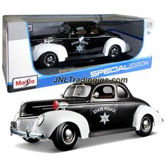"""Maisto Special Edition Series 1:18 Scale Die Cast Car - Black White Police Coupe 1939 FORD DELUXE with Base (Dimension: 9-1/2"""" x 3-1/2"""" x 3-1/2"""")"""
