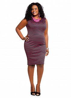 5d5f4fed6c2 Ashley Stewart Womens Plus Size Asymmetrical Techno Striped Sheath Dress