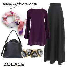 Get from www.zolace.com Lacy Evening Blouse #Muslimah in Purple, Stop and Stereo #Skirt Labuh in Black, Bunga Raya Chiffon #Tudung Bawal in Violet, Any Day, Any Time Bucket Shoulder Bag in Black, Stun, Two Three Bracelet in Black.  #veil