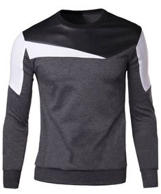 $11.94 Color Block Fabric Splicing Slimming Round Neck Long Sleeve Stylish Cotton Blend Sweatshirt For Men