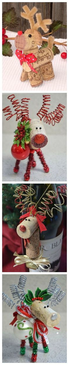 Christmas Crafts - Cork Reindeer Craft Ideas via Pretty My Party Noel Christmas, Diy Christmas Ornaments, Homemade Christmas, Diy Christmas Gifts, Christmas Projects, Winter Christmas, Christmas Decorations, Craft Decorations, Christmas Ideas