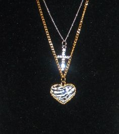 'Betsey Johnson Necklace w/Zebra Print Heart+Cross' is going up for auction at  8pm Thu, Aug 8 with a starting bid of $12.