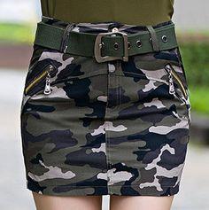 Cheap Camuflaje Mini faldas 2015 mujeres del verano más el tamaño de algodón…