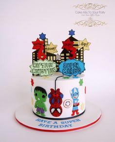 Super Hero Cake (The Incredible Hulk, Spider Man & Captain America) - Cake by Leah Jeffery