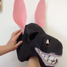 Custom donkey mask for a Japanese film company in progress. Gotta love that smile! Donkey Mask, Donkey Costume, Lion King Costume, The Donkey, Animal Masquerade Masks, Animal Masks, Animal Heads, Theatre Costumes, Puppet Theatre