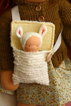 Puffy in her carry bag by Fig & Me, via Flickr #waldorf doll