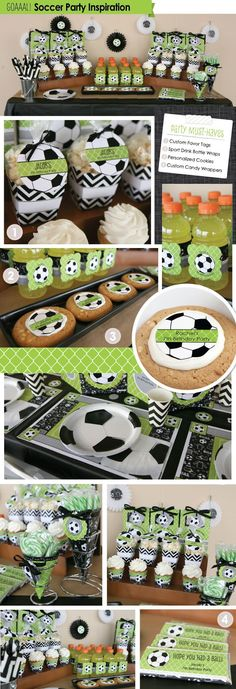Soccer Themed Party Inspiration - Sports Party Supplies from BigDotOfHappiness. Soccer Birthday Parties, Sports Birthday, Sports Party, Birthday Party Themes, Soccer Party Favors, Football Parties, 3rd Birthday, Birthday Ideas, Soccer Baby Showers