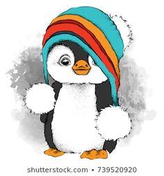 Christmas Drawing, Christmas Paintings, Animal Drawings, Cute Drawings, Pinguin Drawing, Pinguin Illustration, New Year Illustration, Penguin Art, Penguin Love