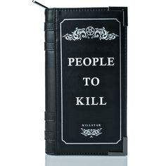 Killstar Kill List Book Wallet (£42) ❤ liked on Polyvore featuring bags, wallets, zipper bag, wrap bag, credit card holder wallet, blue wallet and zip bag