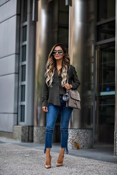 fashion blogger mia mia mine wearing an olive button-down and a chloe faye  medium 94ba860ca