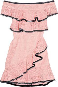 Rebecca Vallance - Courtside Off-the-shoulder Ruffled Guipure Lace Mini Dress - Pastel pink - UK10
