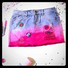 Pink dyed denim skirt with pins Pink denim skirt. Dyed at bottom and has pins. New with tags Disko sauce Skirts Mini