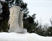 Felted Boots WILD LIFE for women, snow boots, winter shoes - jurgaZa