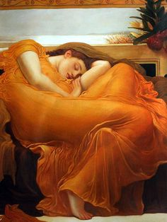 """""""Flaming June"""" by Frederic Leighton placed 7th on overstockArt.com's 2014 Top 10 list. Hand painted reproductions are available in a variety of sizes at overstockArt.com. #art"""
