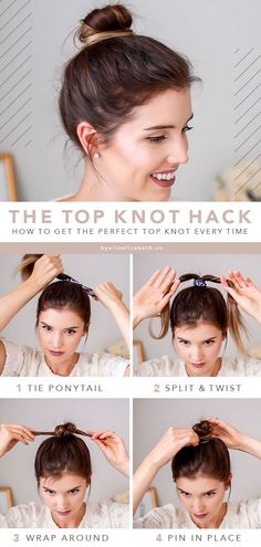 3 Easy Top Knot Bun tutorials you can't mess up . - 3 Easy Top Knot Bun-Tutorials, die Sie nicht durcheinander bringen können 3 Easy Top Knot Bun tutorials you can't mess up # bring Short Hair Bun, Short Thin Hair, Updos For Thin Hair, How To Bun Hair, Messy Bun Thin Hair, Long Hair, Half Hair Bun, Easy Updo Thin Hair, Hairdos For Short Hair