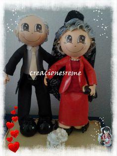 Muñequitas de goma eva Creacionesreme: Muñequitos bodas de oro ,Adelina  y Sebastian