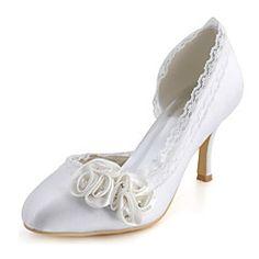 Mujer-Tacón Stiletto-TaconesBoda / Vestido / Fiesta y Noche-Satén Elástico-Blanco
