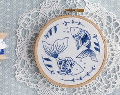 Christmas gift for friend, Blue wall art, Hand embroidery - Ocean Fish Embroidery kit - Christmas gift for her, Diy kit, Blue white