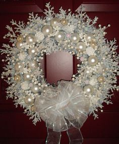 Snow White Shabby Cottage Chic Handmade Christmas Wreath via Etsy