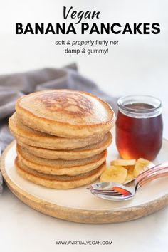 Hands down THE BEST Vegan Banana Pancakes. They are super fluffy and not damp or gummy and they are really quick and easy to make.  #pancakes #veganpancakes #vegan #bananapancakes #veganbananapancakes