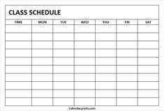 Free blank printable class schedule template for preschool kids, middile school, college students. Get weekly class timetable hourly planner for teachers. School Schedule Printable, Class Schedule Template, Student Planner Printable, Schedule Design, Planner Template, Study Timetable Template, Timetable Planner, Class Timetable, Hourly Planner