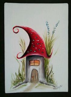 Mushroom in the grass  Original Oil Painting  7 x5