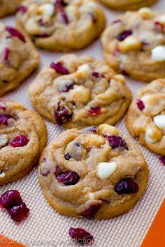 Soft-baked White Chocolate Cranberry Cookies using a secret ingredient to make them super soft. Recipe by sallysbakingaddic...