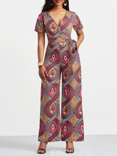 Ericdress Geometric Print Palazzo Women s Jumpsuit 13265517 Ericdress com Ericdress Geometric P African Wear Dresses, African Fashion Ankara, Latest African Fashion Dresses, African Print Fashion, African Attire, White Jumpsuits And Rompers, Jumpsuits For Women, Asos Jumpsuit, Ankara Jumpsuit