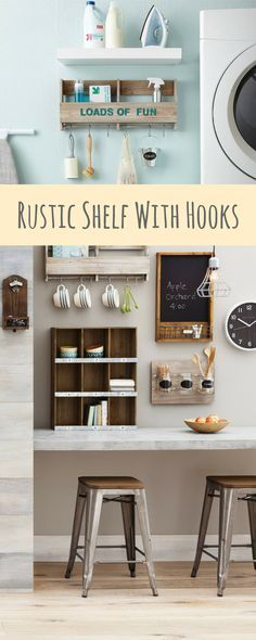 Country Chic rustic shelf with hooks works great in any room that needs some organization with a farmhouse touch  #homedecor #homedesign #homedecoration #homedecorideas #homesweethome #homestyle #country #farmhouse #farmhousestyle #farmhousedecor #rusticdecor #commissionlink #organization #organizing