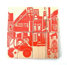city wood blocks by fidoodle, via Etsy.
