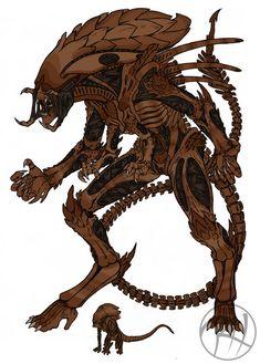 Praetorian Hybrid by Predaguy on DeviantArt Alien Vs Predator, Predator Alien, Monster Concept Art, Alien Concept Art, Alien Creatures, Fantasy Creatures, King Kong, Xenomorph Types, Les Aliens