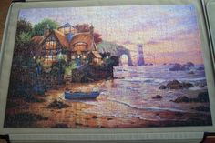1,000 pieces. 'Lighthouse Cottage'. June 2015. Lighthouse, Jigsaw Puzzles, June, Cottage, Painting, Art, Bell Rock Lighthouse, Art Background, Light House