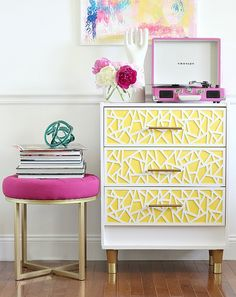 rast ikea dresser hack with record player and purple stool
