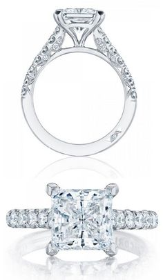 Princess cut diamond engagement ring (#HT254625PR8) from Tacori's new Petite Crescent collection. Via Diamonds in the Library.