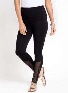 Mesh detail adds a sporty flair to this best selling fabric & fit. FIT: Front shin features geometric, mesh grid and zipper details. LysséFit, our custom designed hi-waist and soft stretch lining ensures a flattering, hourglass silhouette. Full-length legging. FABRIC: We took our best-selling, custom ponte fabric and lightened it up. This cooling and breathable fabric is ideal for warmer weather. It features a soft hand, extreme comfort, and holds its shape with no bagging or sagging…