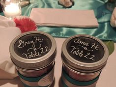 We used Mason Jars as our place cards, and they doubled as our favors.