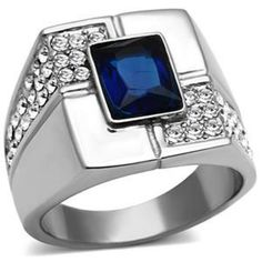 CJG1001 Wholesale High Polished Stainless Steel Asscher Cut Synthetic Mens Fashion Ring - Military Rings - Mens Jewelry