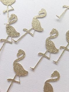 Lets party; Flamingo Style! This listing is for (1) pack of Glitter Flamingo Confetti which includes (50) die cut gold glitter 2.25 flamingos. Flamingos are glitter on one sided, the back is white. Confetti ships via USPS first class mail in 3-5 business days. Please note if other items are ordered with confetti, regular processing time will be in effect. Interested in a different color? Message us for a custom order