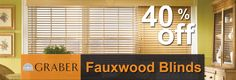 Get 40% off on Faux Wood Blinds
