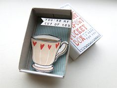 The Instant Comfort Pocket Box - my cup of tea on Etsy, $11.23. Matchbox, matchbooks, altered art, assemblage, I in, shadow box