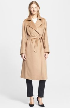 Free shipping and returns on Max Mara 'Manuel' Camel Hair Coat at Nordstrom.com. Intricate pickstitching details a timeless camel hair coat designed with a convertible collar above the sophisticated wrap-style front. The coordinating waist-defining belt gives feminine shape to the straight, three-quarter silhouette.