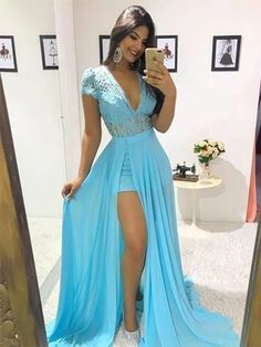 Blue Long Prom Dress Sexy Lace Deep V Neck Capped Sleeves Detachable Sweep Train Chiffon Formal Evening Dresses Special Occasion Party Gowns Party Gowns, Wedding Party Dresses, Sexy Dresses, Prom Dresses, Vestidos Sexy, Chiffon, Formal Evening Dresses, Short, Dress For You