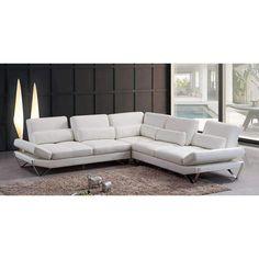 Divani Casa Aventura Modern Snow White Leather Sectional Sofa