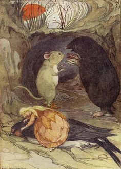 Anne Anderson (Scottish, 1874-1930). Thumbelina Tends The Poor Bird. From: The Big Christmas Wonder Book. c. 1910s.