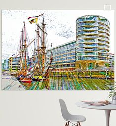 Museumsschiffe in der Hafencity Poster - Leopold Brix Museum, Fair Grounds, Fun, Travel, Pictures, Printing On Wood, Artist Canvas, Sailing Ships, Digital Art