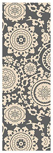 Custom Size Grey Floral Medallion Rubber Backed Non-Slip Hallway Stair Runner Rug Carpet 31 inch Wide Choose Your Length 31in X 40ft