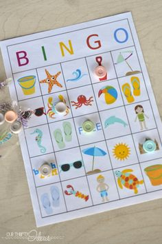 Summertime BINGO printable game! Free printable!