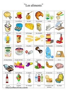 dictionnaire en images sur les aliments - Fiches FLE