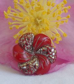 Vintage Glass button. Single Red glass and silver lustre flower shape button. Art Deco. Unusual design and colour.